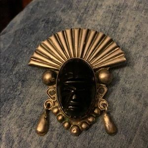 Vintage Sterling Silver Tribal pin With Onyx face